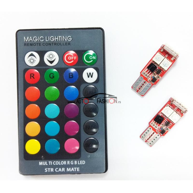 LED RGB T10 LUX set od dve sijalice sa daljincem
