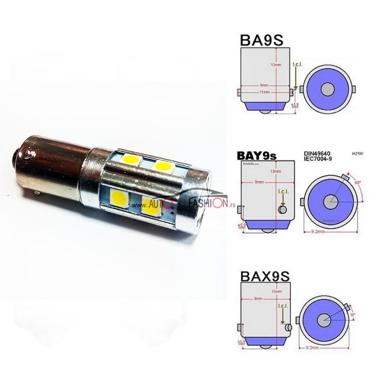 LED sijalica BA9S H6W CANBUS 9 smd