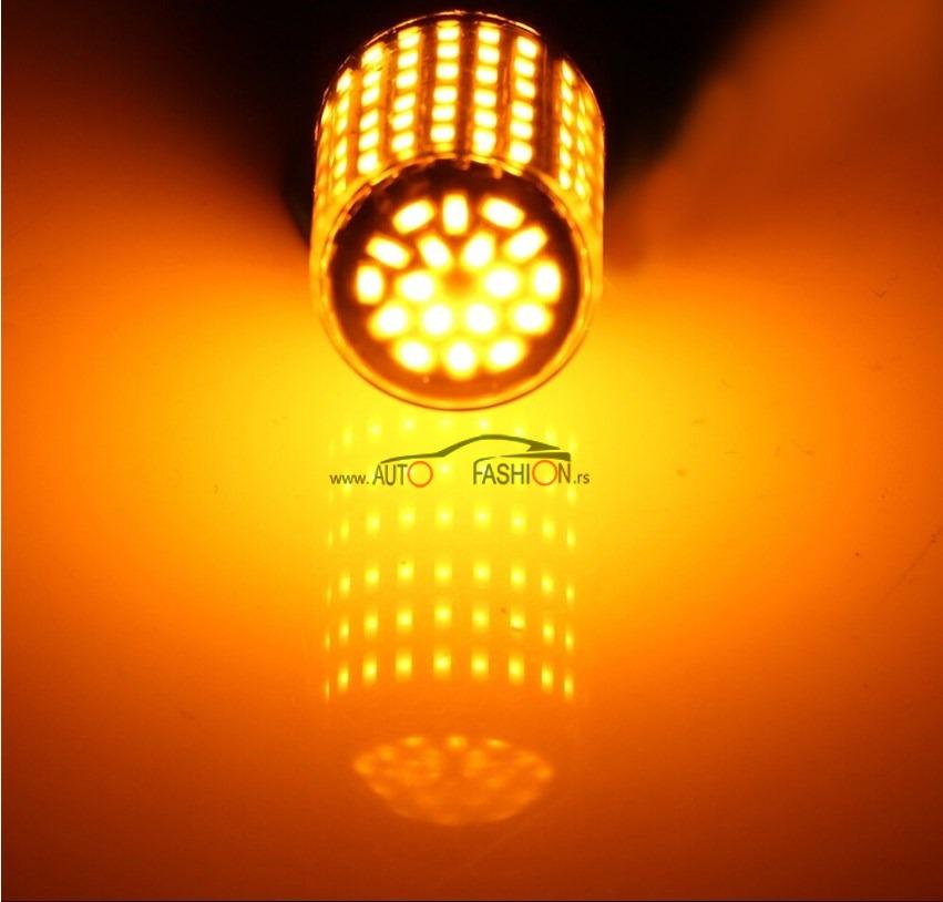 LED sijalica BA 15s ZA MIGAVAC 144 diode CANBUS žuta