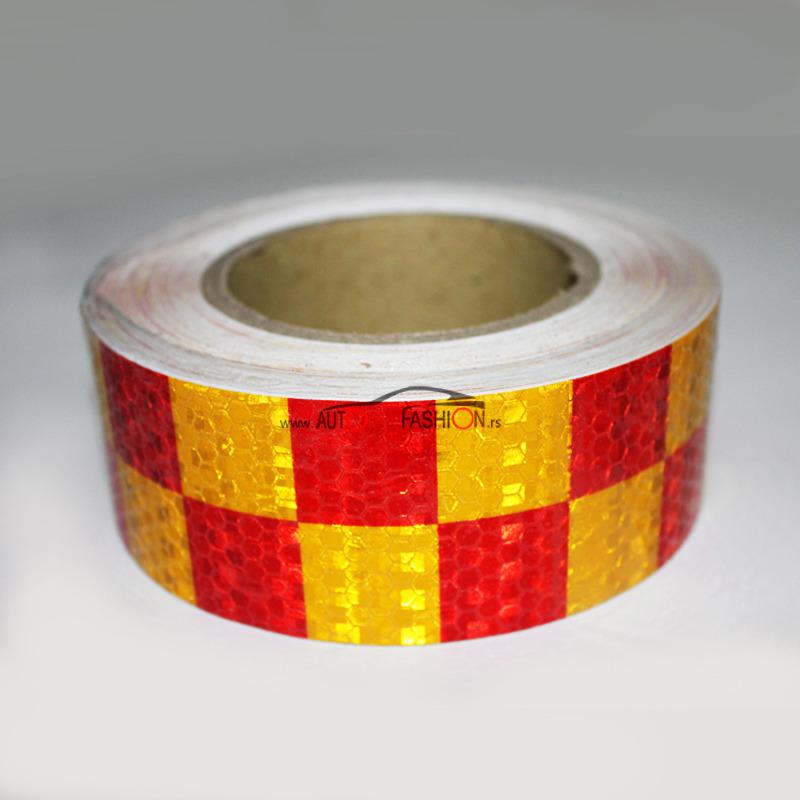 Reflektujuća traka 25m žuto crvena kockica