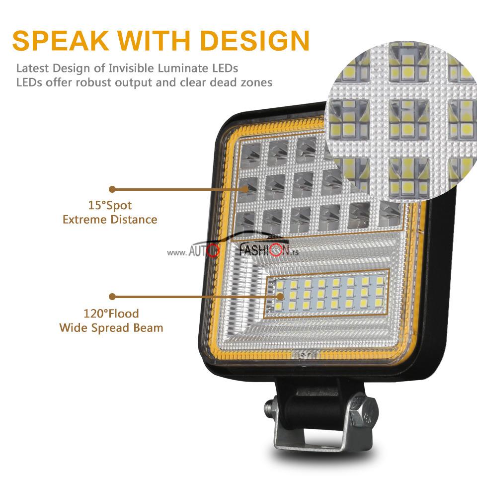LED FAR Radni 126W 12V-24V sa dodatnim žutim svetlom